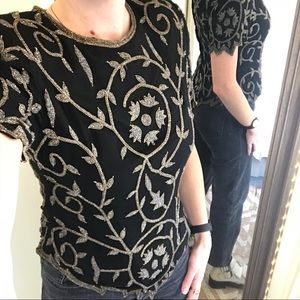 80s Vintage Laurence Kazar silk beaded top NWT